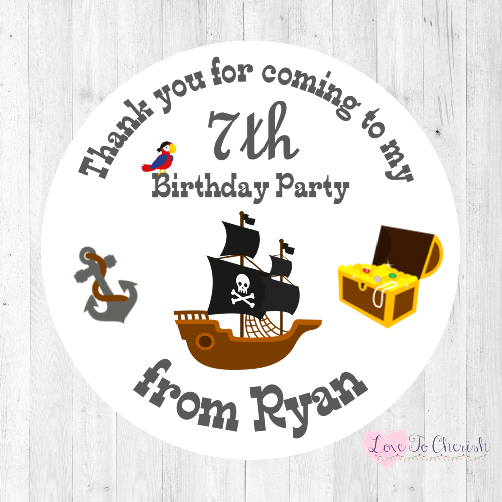 Pirate Ship Boy's Personalised Birthday Party Stickers   Love To Cherish