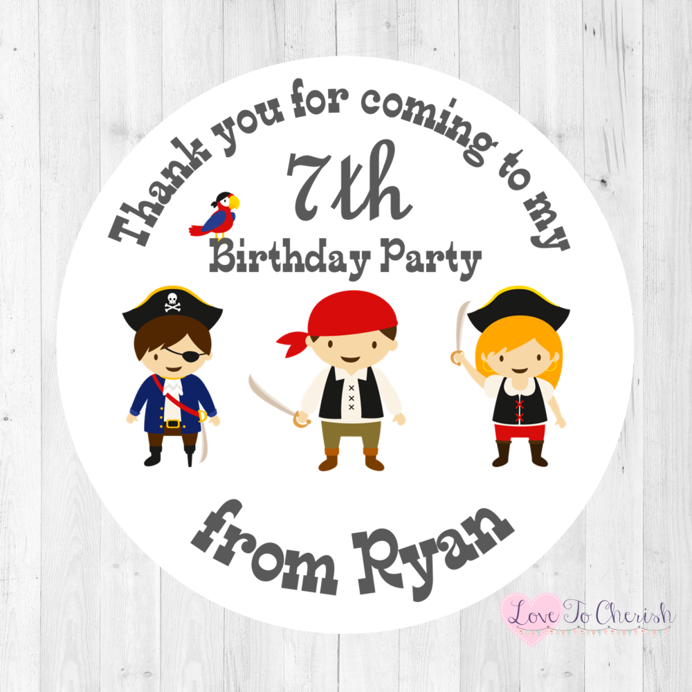 Pirate Friends Boy's Personalised Birthday Party Stickers   Love To Cherish