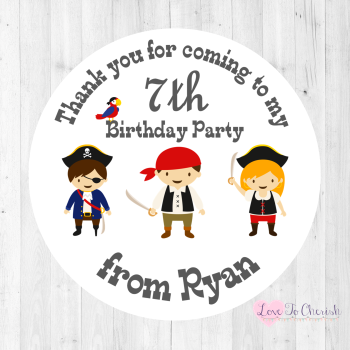 Pirate Friends Boy's Personalised Birthday Party Stickers