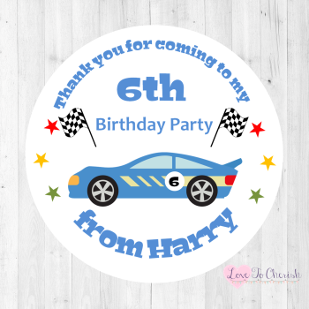 Racing Car Boy's Personalised Birthday Party Stickers