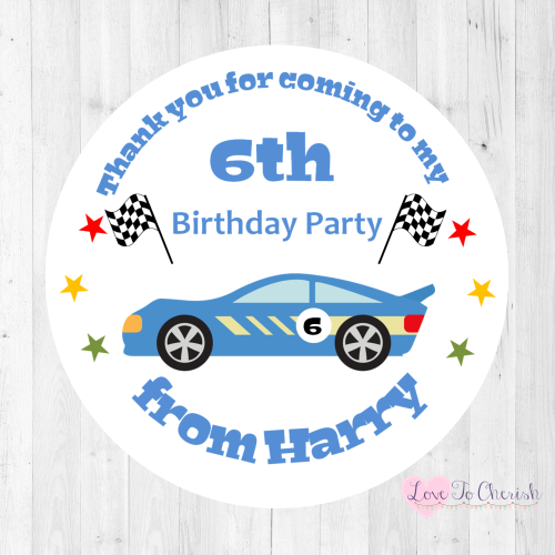 Racing Car Boy's Personalised Birthday Party Stickers | Love To Cherish