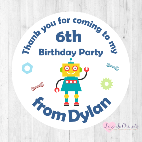 Funky Robot Boy's Personalised Birthday Party Stickers | Love To Cherish