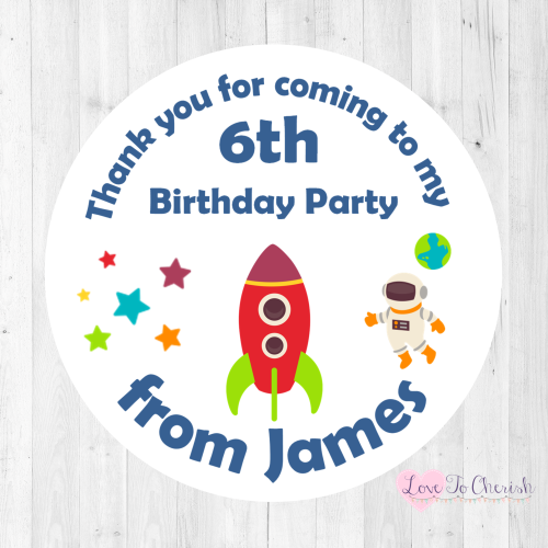 Space Rocket Ship Boy's Personalised Birthday Party Stickers | Love To Cher