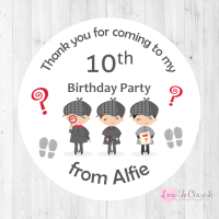 Secret Agent / Spy Mission Boy's Personalised Birthday Party Stickers