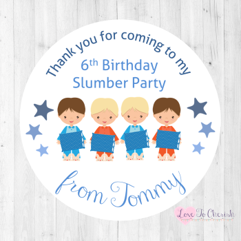 Slumber /Sleepover Party Boy's Personalised Birthday Party Stickers