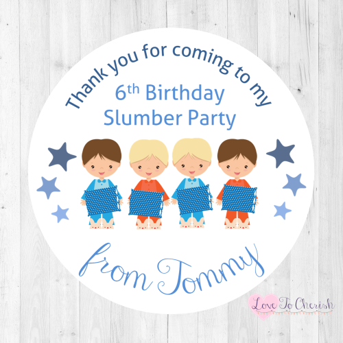 Slumber /Sleepover Party Boy's Personalised Birthday Party Stickers | Love