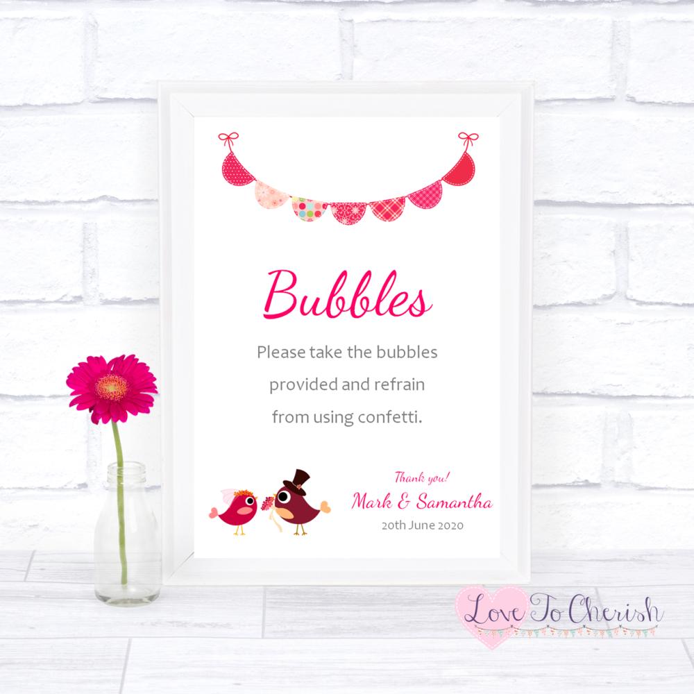 Bubbles Wedding Sign - Bride & Groom Cute Love Birds Dark Pink   Love To Ch