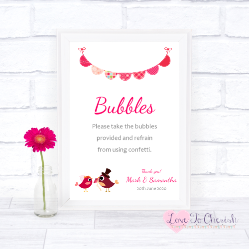 Bubbles Wedding Sign - Bride & Groom Cute Love Birds Dark Pink | Love To Ch