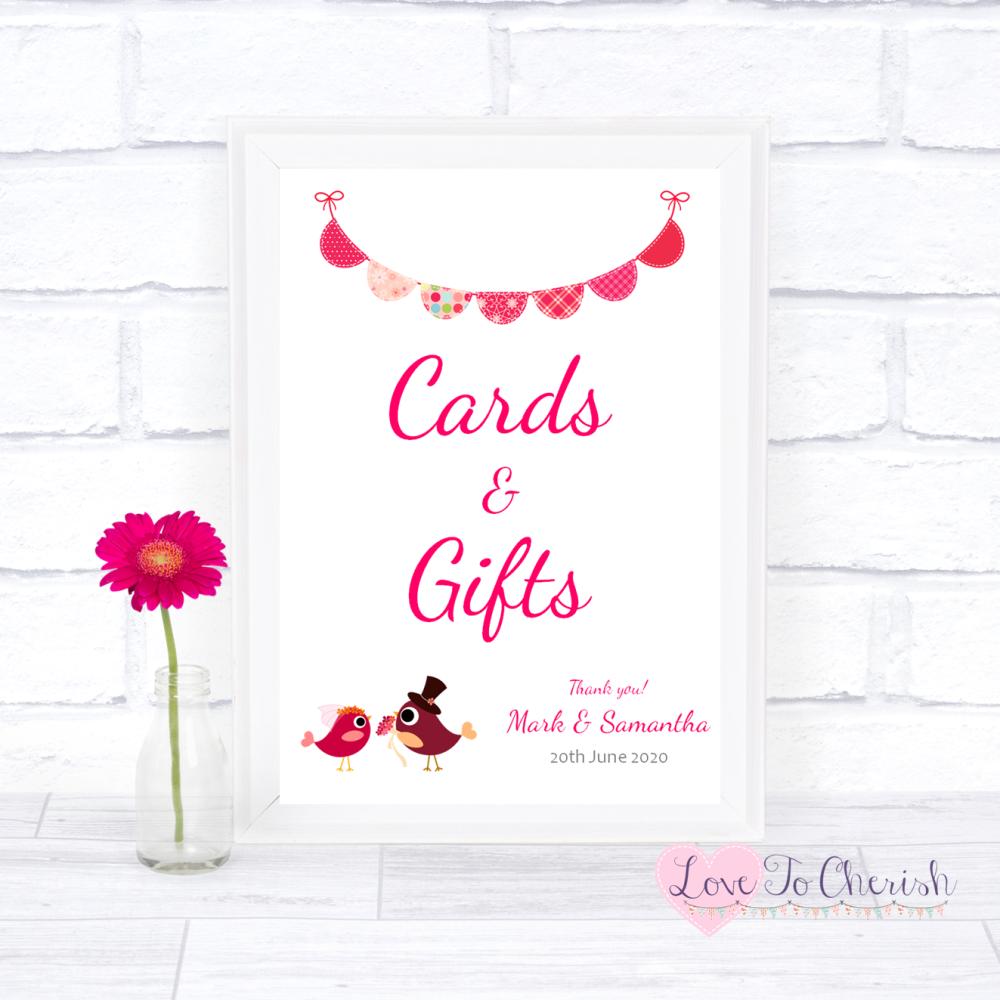 Cards & Gifts Wedding Sign - Bride & Groom Cute Love Birds Dark Pink | Love