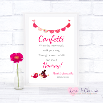 Bride & Groom Cute Love Birds Dark Pink - Confetti - Wedding Sign