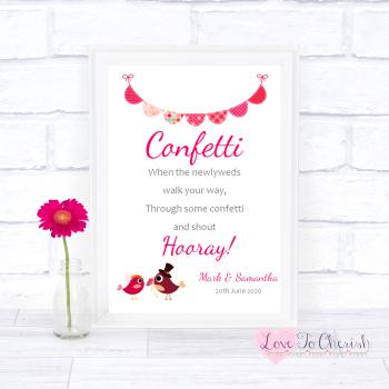 Bride & Groom Cute Love Birds Dark Pink - Confetti - Wedding Sign