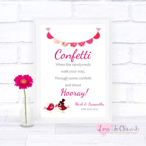 Confetti Wedding Sign - Bride & Groom Cute Love Birds Dark Pink | Love To C