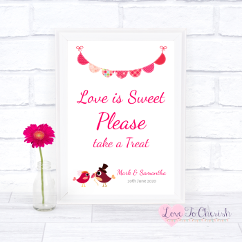 Bride & Groom Cute Love Birds Dark Pink - Love Is Sweet - Wedding Sign