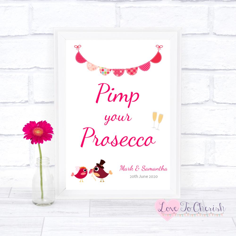 Pimp Your Prosecco Wedding Sign - Bride & Groom Cute Love Birds Dark Pink  