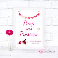 Bride & Groom Cute Love Birds Dark Pink - Pimp Your Prosecco - Wedding Sign