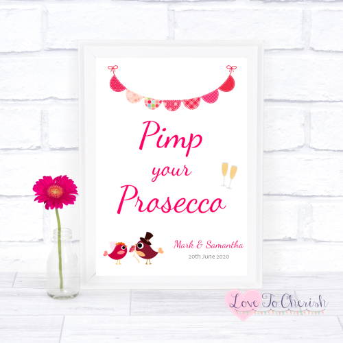 Pimp Your Prosecco Wedding Sign - Bride & Groom Cute Love Birds Dark Pink |