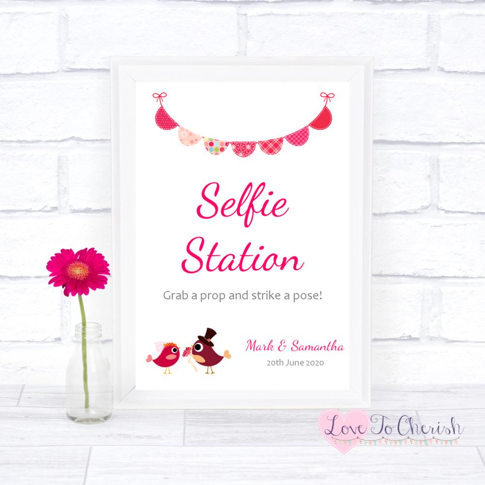 Selfie Station Wedding Sign - Bride & Groom Cute Love Birds Dark Pink   Lov