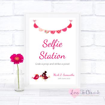 Bride & Groom Cute Love Birds Dark Pink - Selfie Station - Wedding Sign