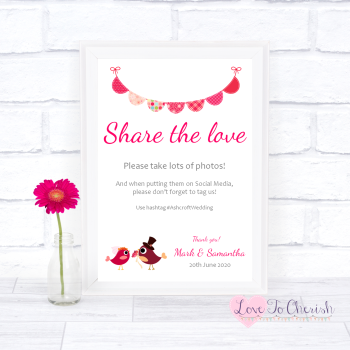 Bride & Groom Cute Love Birds Dark Pink - Share The Love - Photo Sharing - Wedding Sign