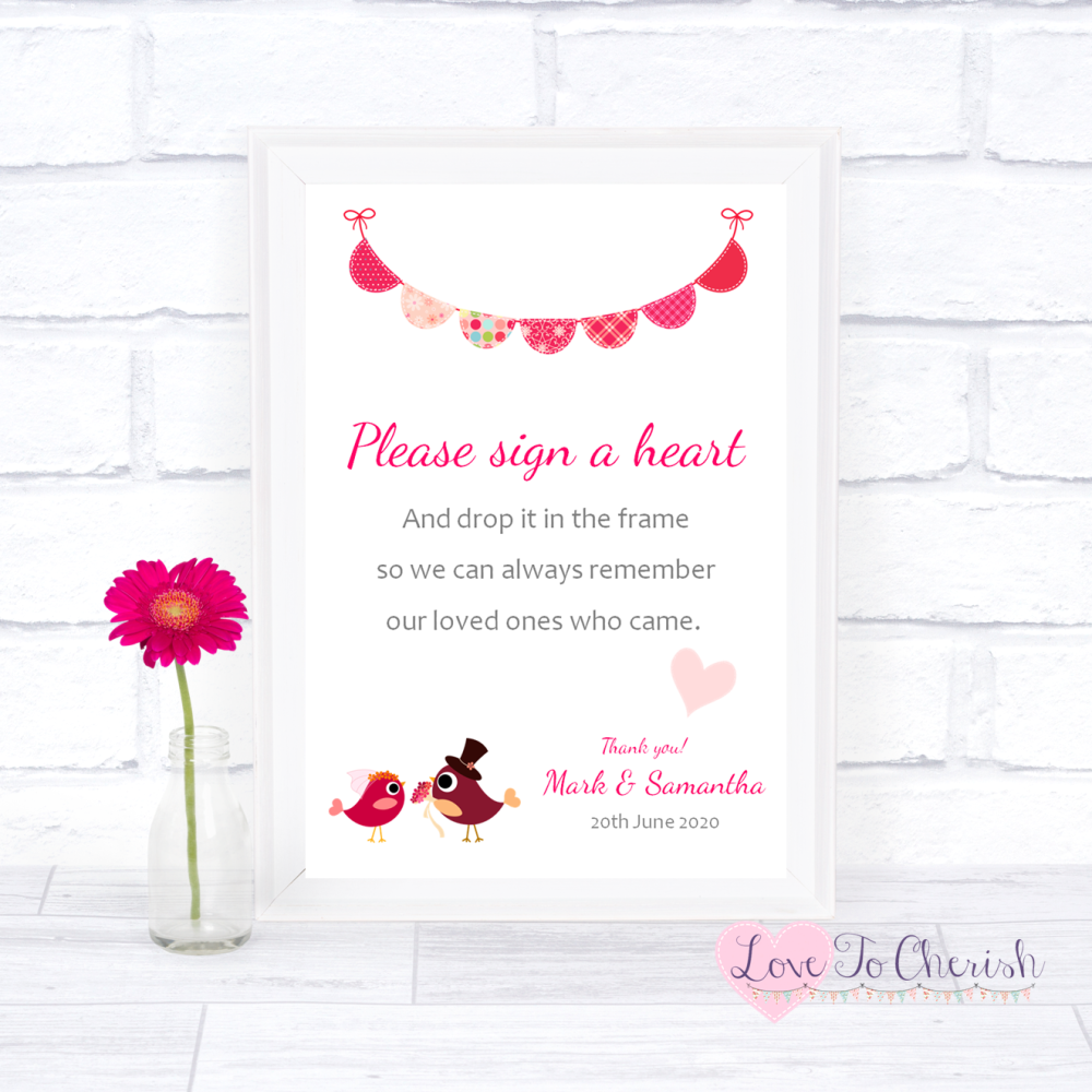Sign A Heart Wedding Sign - Bride & Groom Cute Love Birds Dark Pink   Love