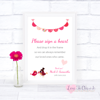 Bride & Groom Cute Love Birds Dark Pink - Sign A Heart - Wedding Sign