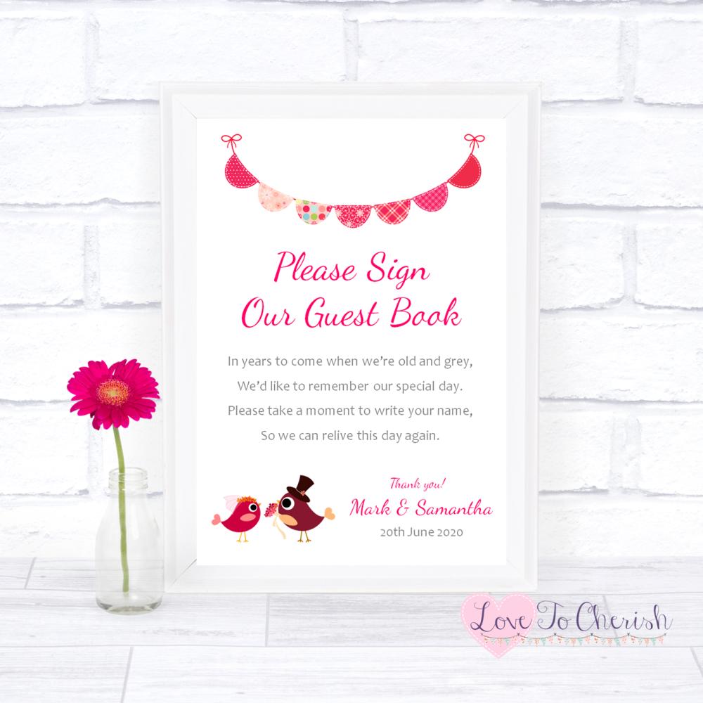 Sign Our Guest Book Wedding Sign - Bride & Groom Cute Love Birds Dark Pink