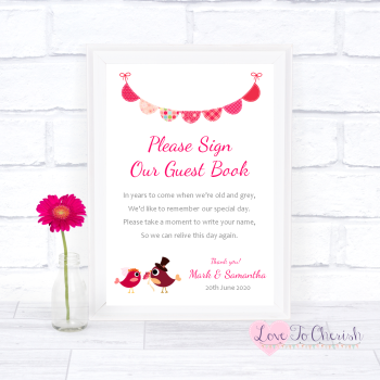 Bride & Groom Cute Love Birds Dark Pink - Sign Our Guest Book - Wedding Sign