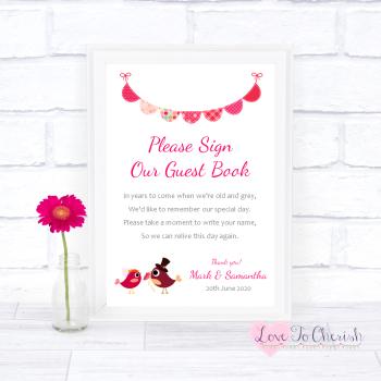 Bride & Groom Cute Love Birds Dark Pink - Sign Our Guest Book - Wedding Sign