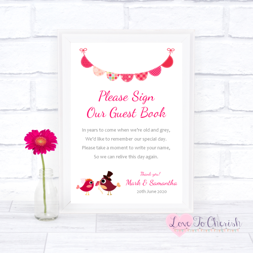 Sign Our Guest Book Wedding Sign - Bride & Groom Cute Love Birds Dark Pink
