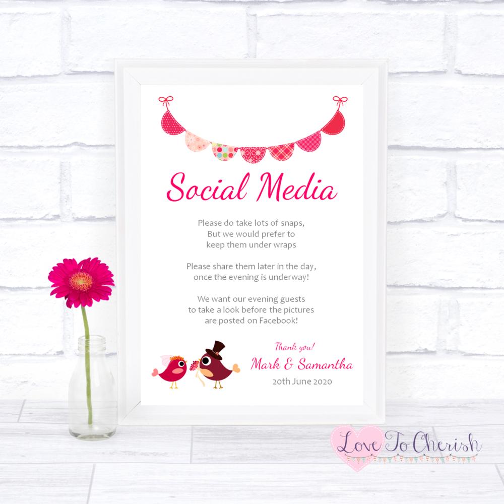 Social Media Wedding Sign - Bride & Groom Cute Love Birds Dark Pink   Love