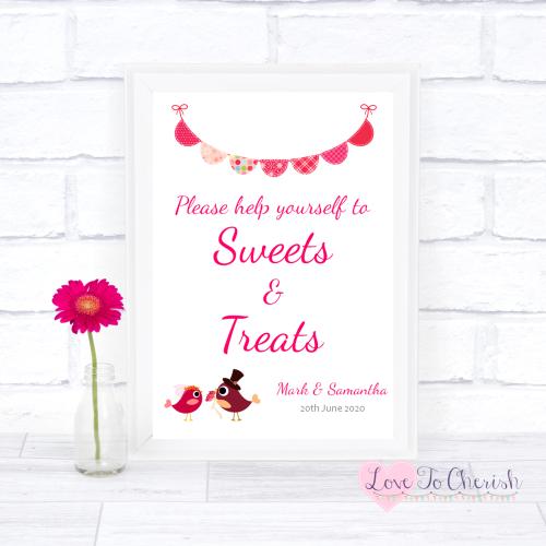 Sweets & Treats / Candy Table Wedding Sign - Bride & Groom Cute Love Birds