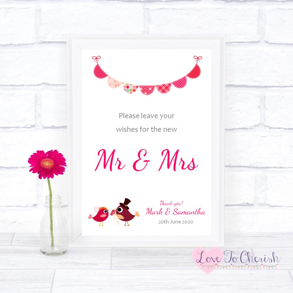 Wishes for the Mr & Mrs Wedding Sign - Bride & Groom Cute Love Birds Dark P