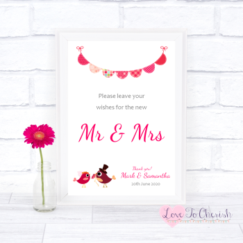 Bride & Groom Cute Love Birds Dark Pink - Wishes for the Mr & Mrs - Wedding Sign