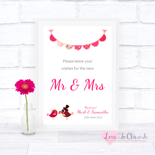 Wishes for the Mr & Mrs Wedding Sign - Bride & Groom Cute Love Birds Dark P