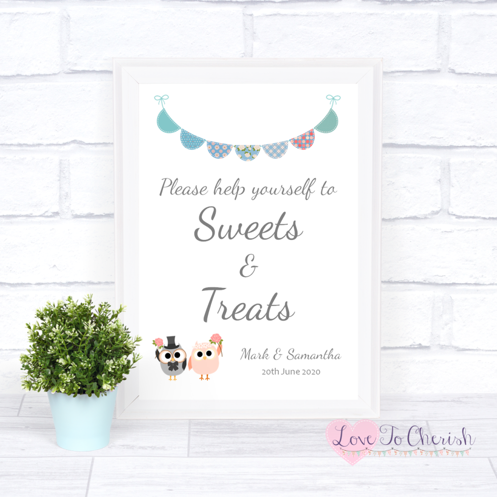 Sweets & Treats Candy Table Wedding Sign - Bride & Groom Cute Owls & Buntin