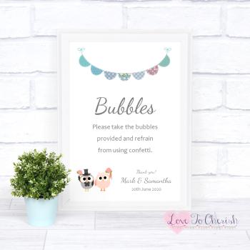 Bride & Groom Cute Owls & Bunting Green/Blue - Bubbles - Wedding Sign