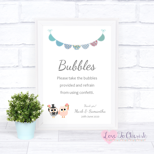 Bubbles Wedding Sign - Bride & Groom Cute Owls & Bunting Green/Blue | Love