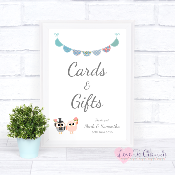 Bride & Groom Cute Owls & Bunting Green/Blue - Cards & Gifts - Wedding Sign