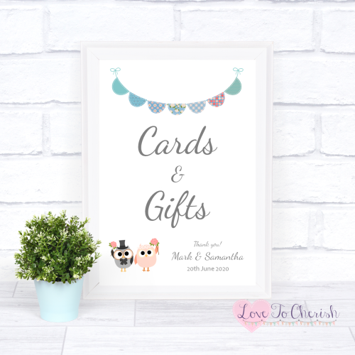 Cards & Gifts Wedding Sign - Bride & Groom Cute Owls & Bunting Green/Blue |