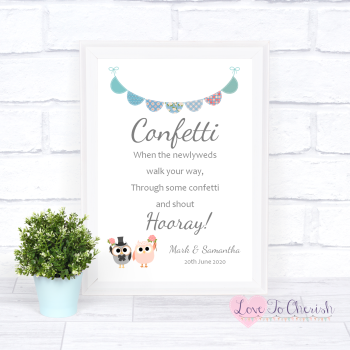 Bride & Groom Cute Owls & Bunting Green/Blue - Confetti - Wedding Sign