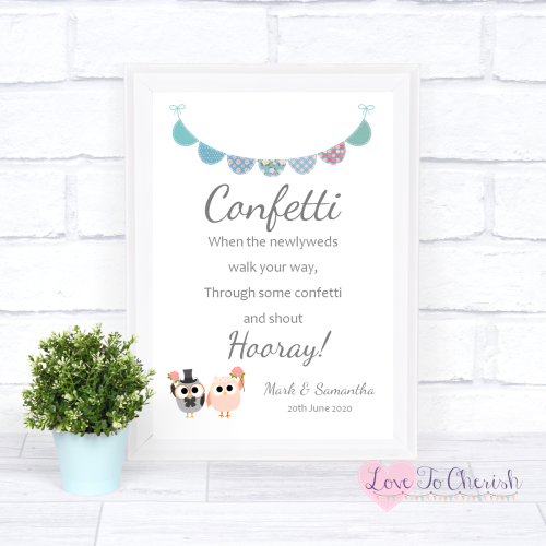 Confetti Wedding Sign - Bride & Groom Cute Owls & Bunting Green/Blue | Love