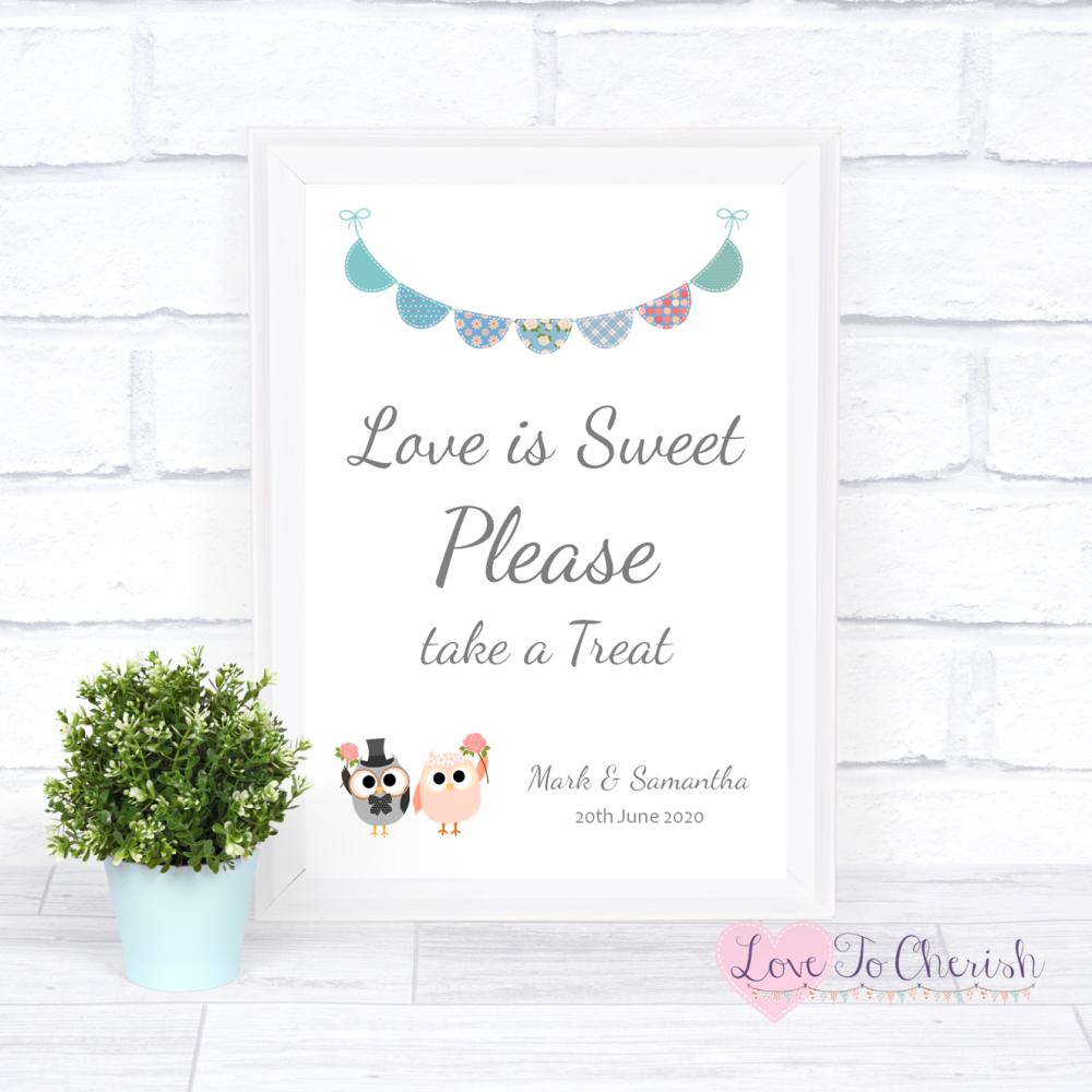 Love Is Sweet Wedding Sign - Bride & Groom Cute Owls & Bunting Green/Blue |