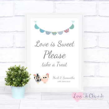 Bride & Groom Cute Owls & Bunting Green/Blue - Love Is Sweet - Wedding Sign