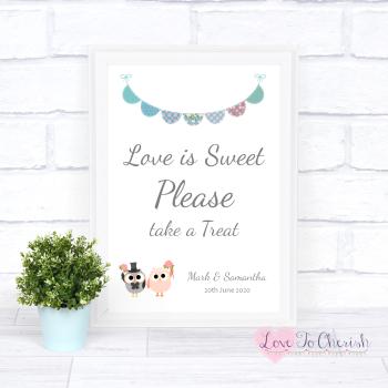 Bride & Groom Cute Owls & Bunting Green/Blue - Love Is Sweet - Wedding Sign