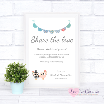 Bride & Groom Cute Owls & Bunting Green/Blue  - Share The Love - Photo Sharing - Wedding Sign