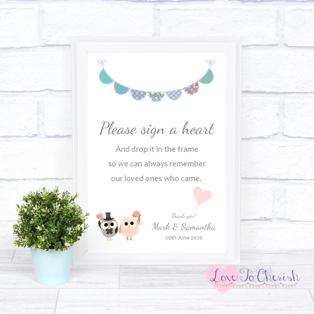 Sign A Heart Wedding Sign - Bride & Groom Cute Owls & Bunting Green/Blue |