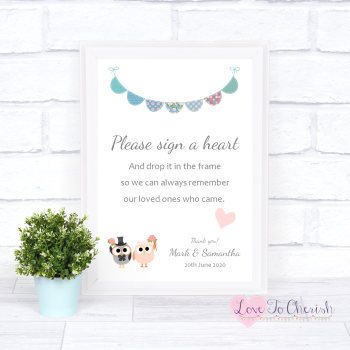 Bride & Groom Cute Owls & Bunting Green/Blue - Sign A Heart - Wedding Sign