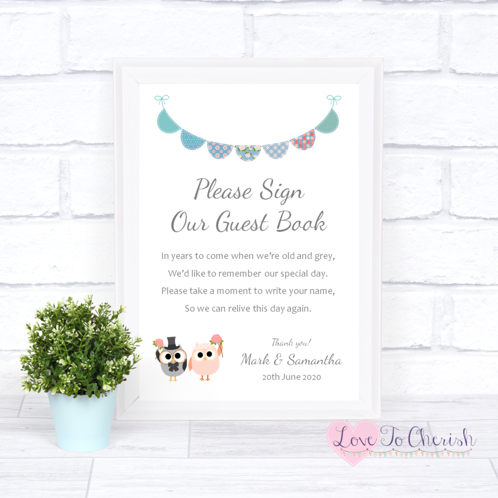 Sign Our Guest Book Wedding Sign - Bride & Groom Cute Owls & Bunting Green/