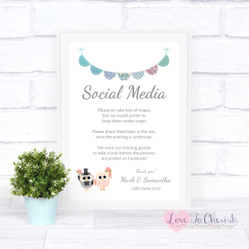 Bride & Groom Cute Owls & Bunting Green/Blue - Social Media - Wedding Sign