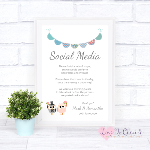 Social Media Wedding Sign - Bride & Groom Cute Owls & Bunting Green/Blue |